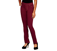 As Is Susan Graver French Knit Jeggings w/Faux Fly and Contrast Stitch - A240949