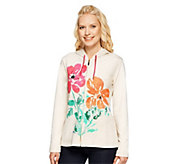 As Is Susan Graver French Terry Placement Print Zip Front Jacket - A241049