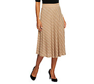Susan Graver Liquid Knit Printed Stripe Pull-on Knee Length Skirt - A251649