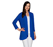 Susan Graver Liquid Knit 3/4 Sleeve Open Front Cardigan - A254449
