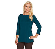 Susan Graver Premier Knit 3/4 Sleeve Bateau Neck Top - A257949