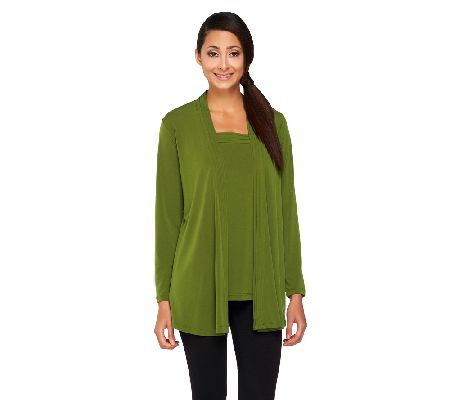 Susan Graver Liquid Knit Cardigan and Square Neck Tank Set - A260349