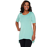 LOGO Lounge by Lori Goldstein French Terry Seamed Top with Short Sleeve - A262649