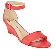 Isaac Mizrahi Live! Ankle Strap Low Wedge Leather Sandals - A264249