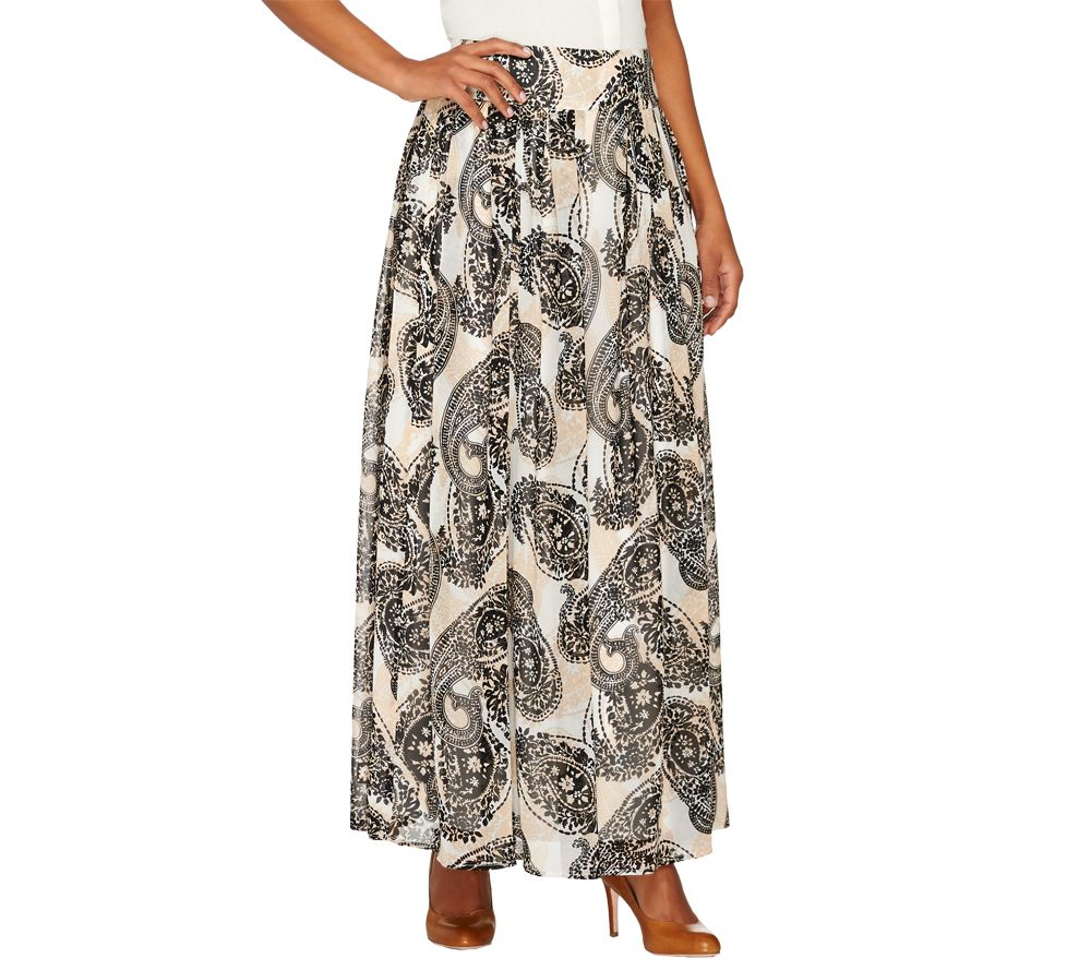 dennis basso paisley printed pleated maxi skirt