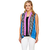 Bob Mackies Animal Collage Printed Open Front Georgette Vest - A265049