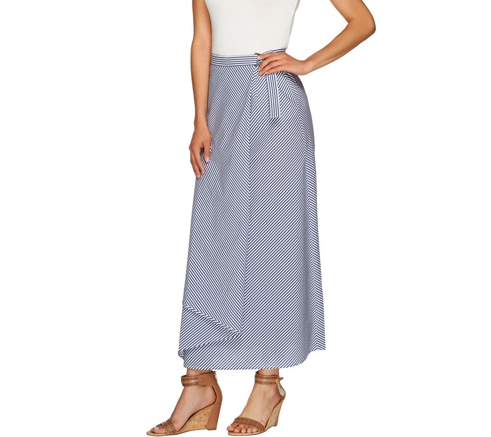 g i l i regular striped wrap front maxi skirt page 1