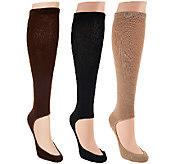 KeySocks Set of Three No Show Knee High Socks - A267249