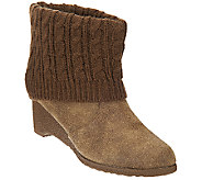 MUK LUKS Wedge Heel Boot with Cable Knit Foldover Cuff - A268649