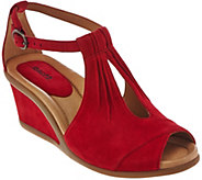 Earth Suede Open-toe Wedges with Adj. Ankle Strap - Caper - A274249