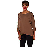 As Is Denim & Co. Dolman 3/4 Sleeve Crossover Front Top - A275049