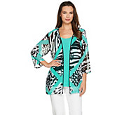 Bob Mackies 3/4 Sleeve Printed Kimono with Scoop Neck Tank - A276149