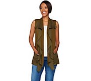 LOGO by Lori Goldstein Cotton Slub Vest with Woven Ruffle Trim - A276649