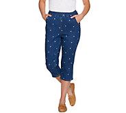 Denim & Co. Pull-on Star Printed Capri with Pockets - A277649