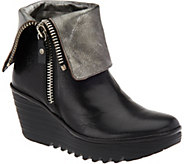 FLY London Leather Foldover Boots with Side Zip - Yex - A283449