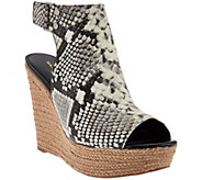 As Is Marc Fisher Leather Peep-toe Espadrille Wedges - Hybrid - A283849