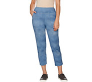 As Is LOGO Lounge by Lori Goldstein French Terry Ombre Crop Pant - A284249