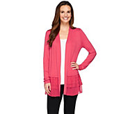 As Is LOGO by Lori Goldstein Knit Cardigan with Chiffon & Embroidery - A285049