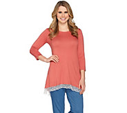 LOGO by Lori Goldstein Color-Block Knit Top with Lace Hem - A285349