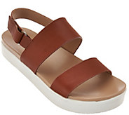 As Is H by Halston Leather Platform Sandal - Brooke - A286349