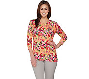 Isaac Mizrahi Live! Garden Floral Printed 3/4 Sleeve Sweater - A288649