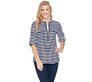 Belle by Kim Gravel Knit Striped Utility Shirt - A288749