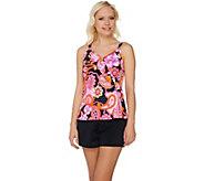 As Is Denim & Co. Beach Ruffled Tankini Swimsuit - A289749