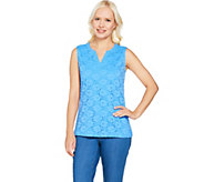 Denim & Co. Sleeveless Split V-Neck Knit Lace Tank Top - A291649