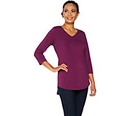 Joan Rivers Jersey Knit 3/4 Sleeve Top with Shirt Tail Hem - A299349