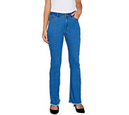 Susan Graver Hi Stretch Denim Slightly Boot Cut Jeans w/ Frayed Hem - A300549