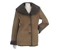 Dennis Basso Quilted Faux Shearling Coat with Shawl Collar - A86549