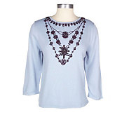 Victor Costa Occasion Faux Necklace V-neck Sweater - A05850