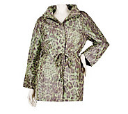 George Simonton Animal Print Anorak Jacket with Ruched Collar - A221150