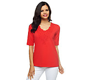 Susan Graver Weekend Stretch Cotton Top with Crochet Detail - A222650