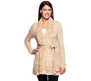 Dennis Basso Sweater Cardigan with Faux Chinchilla Fur Trim & Belt - A229750