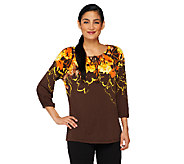 Susan Graver Long Sleeve Printed Tunic with Key Hole Detail - A231250