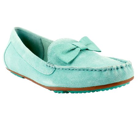Isaac Mizrahi Live Suede Moccasins with Bow Detail —