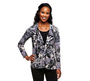 As Is Susan Graver Printed Crepe Knit Ruffled Front Cardigan - A253450