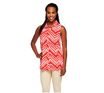 Susan Graver Liquid Knit Printed Button Front Sleeveless Top - A254350