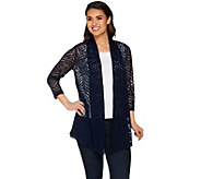 Susan Graver Stretch Lace Open Front Cardigan - A254450