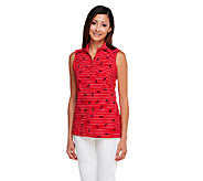 Susan Graver Weekend Printed Cotton Spandex Sleeveless Polo Shirt - A255350