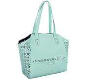 As Is B. Makowsky Perforated Saffiano Leather Tote - A258950