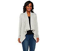 Denim & Co. Heavenly Jersey Drape Front Long Sleeve Cardigan - A260050