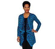 Liz Claiborne New York Jacquard Knit Cascade Front Cardigan - A261250