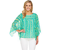 Bob Mackies Paisley Stripe Printed Boatneck Caftan Top - A265050