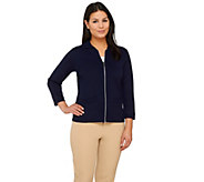 Linea by Louis DellOlio Zip Front 3/4 Sleeve Knit Cardigan - A265550