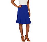 Susan Graver Premier Knit Comfort Waist Skirt with Godets - A265850