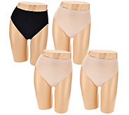 Breezies Set of 4 Seamless Modal High Cut Brief Panties - A267050