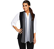 As Is LOGO by Lori Goldstein Color-Block Drape Front Knit Vest - A267750