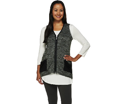 logo by lori goldstein sweater knit vest with faux leather trim qvc com